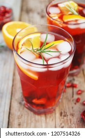 Red wine cranberry citrus pomegranate sangria. Top view, space for text.