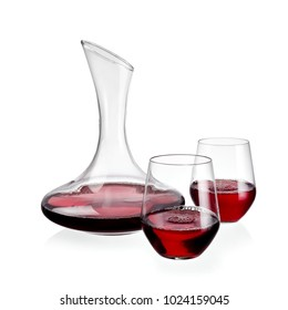 Red wine decanter with two glasses