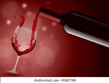 Red wine filling glass
