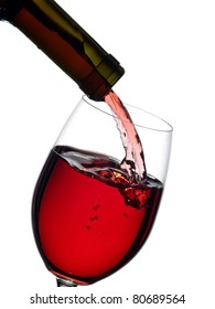 Red wine flow in a glass