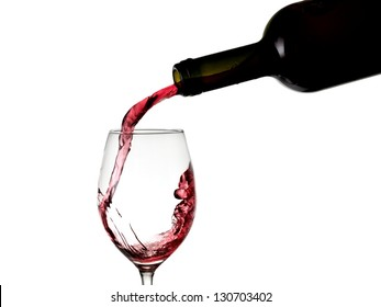 Red wine flow in a glass from a bottle