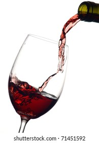 Red wine flow in a glass with waves