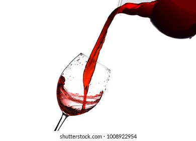 red wine flowing on  goblet, isolated white background composition photography