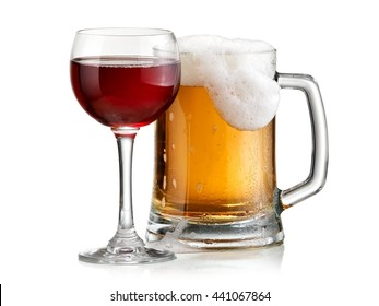 Red wine glass and beer mug