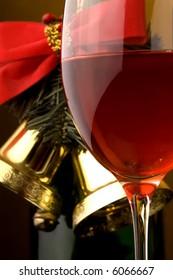 red wine glass bottle Christmas bells