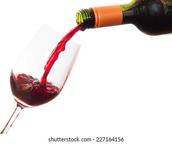 Red Wine glass and Bottle isolated on white background.