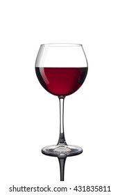Red wine glass cutout isolated on white ( design element)