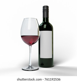 Red wine glass and dark green bottle with a blank label on a white background