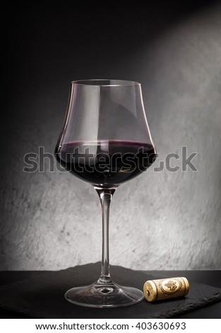 Red Wine Glass Elegant Slate Background Stock Photo (Edit Now
