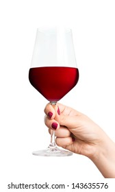 Red wine glass in hand