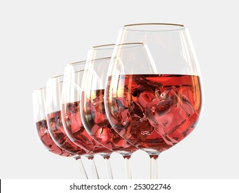 Red wine in a glass with ice