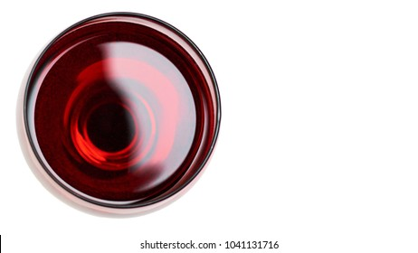 Red Wine in glass. Isolated on white background. copy space, template.