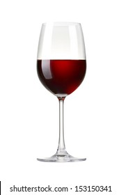 Red wine in a glass isolated on white background - realistic photo image - with clip path