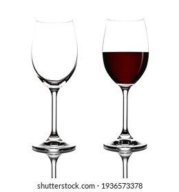 Red wine in a glass isolated on white background - realistic photo image - with clip path.