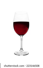 Red wine in glass isolated on white