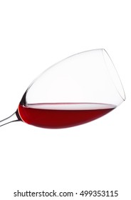 Red wine glass isolated on white background. Still life