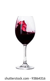 red wine in a wine glass isolated on white background