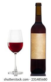 red wine in a glass isolated over white background