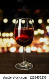 Red wine in glass on the bar
