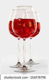 Red wine in a glass on white background