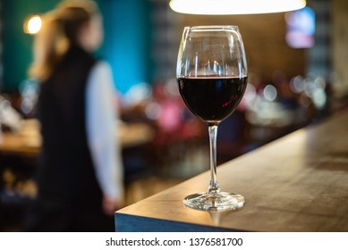 red wine glass in the restaurant