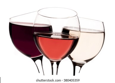Red wine glass, rose wine glass, white wine glass isolated on white background