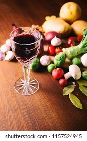 Red wine glass and vegetables