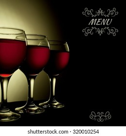 Red Wine in glass vintage menu collage