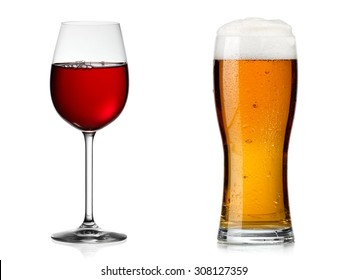 Red wine glass vs beer glass
