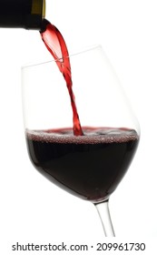 red wine in glass white background