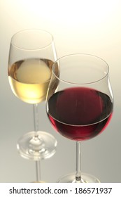 Red wine glass and white wine glass isolated on white background