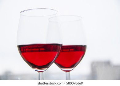 red wine in a glass in winter