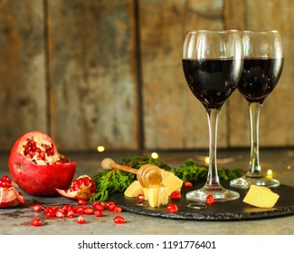 red wine in glasses, festive atmosphere. new Year. Top view. food background copy space