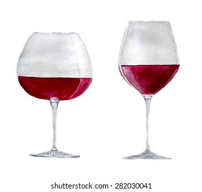 red wine glasses: for 'pinot noir' and 'cabernet sauvignon'. Hand-drawn watercolor