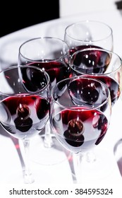 Red wine in glasses. Selective focus.