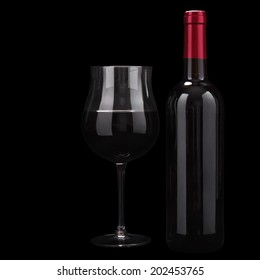Red wine isolated on a black background