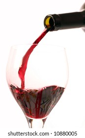 Red wine on a withe background.