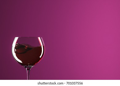Red wine with pink background.