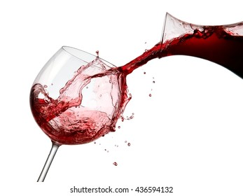 Red wine pour and splash