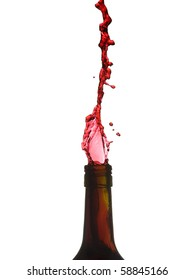 Red wine pouring from bottle - inverted.