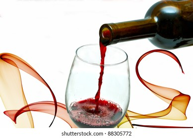 Red wine pouring down from a wine bottle, isolated on white
