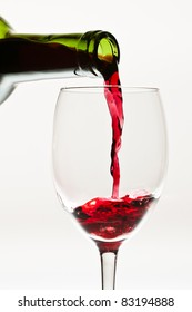 Red wine pouring down to the glass