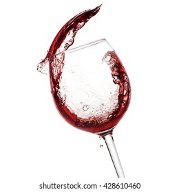 Red wine pouring in the glass with clipping path included