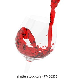 red wine pouring into a glass on white background