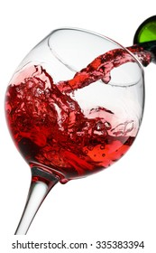 red wine pouring isolated on the white background