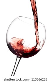 Red Wine Pouring, on a white background