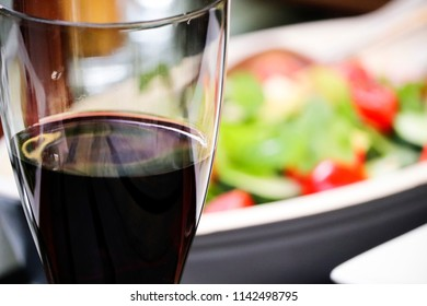 Red wine and salad