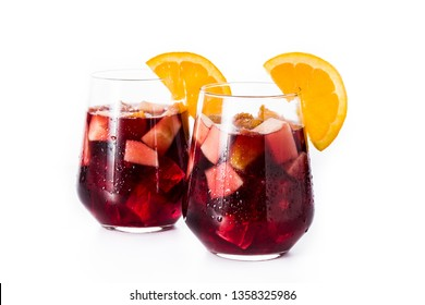 Red wine sangria isolated on white background.