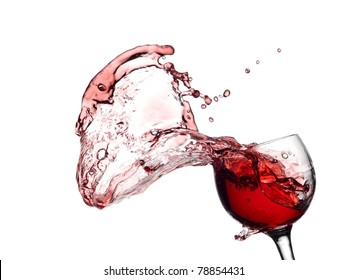 Red wine up and splash with drops