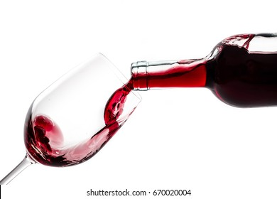 Red wine splash isolated on white background. Use for restaurant cafe.